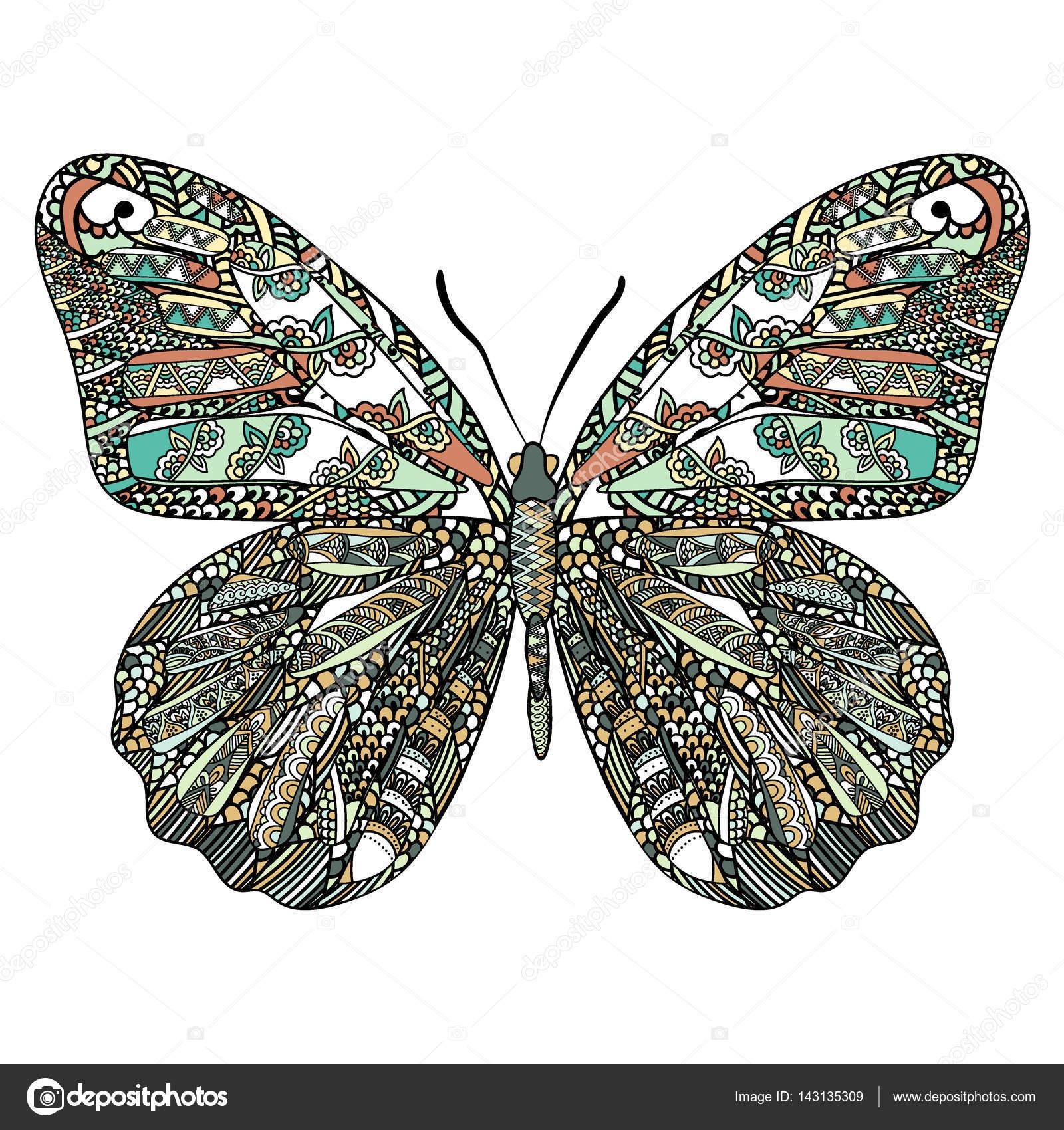 Etnik Doodle Desenli Renkli Kelebek Zentangle Anti Stres Yetişkin