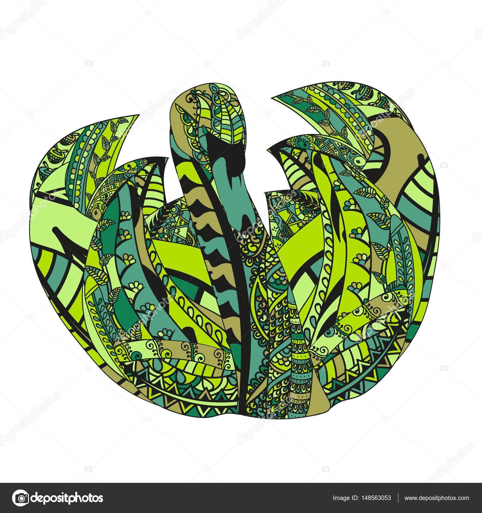 Bunte Schwan mit ethnischen Doodle Muster. Zentangle inspirierte ...