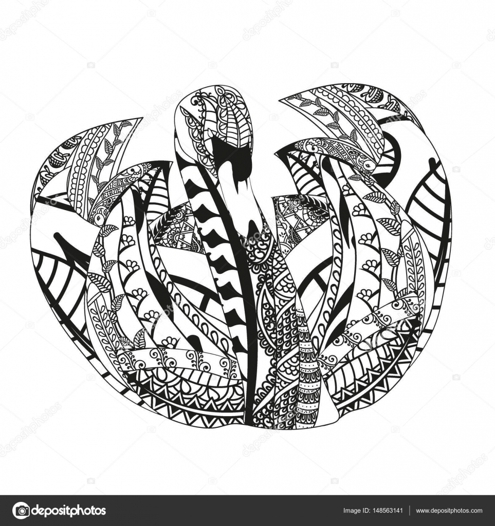 Schwan Mit Ethnischen Doodle Muster Zentangle Inspirierte Muster
