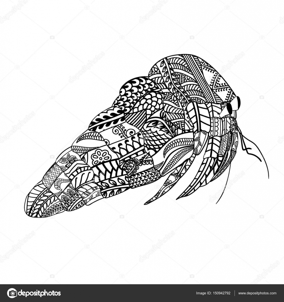 Crab with ethnic doodle pattern  Zentangle inspired pattern