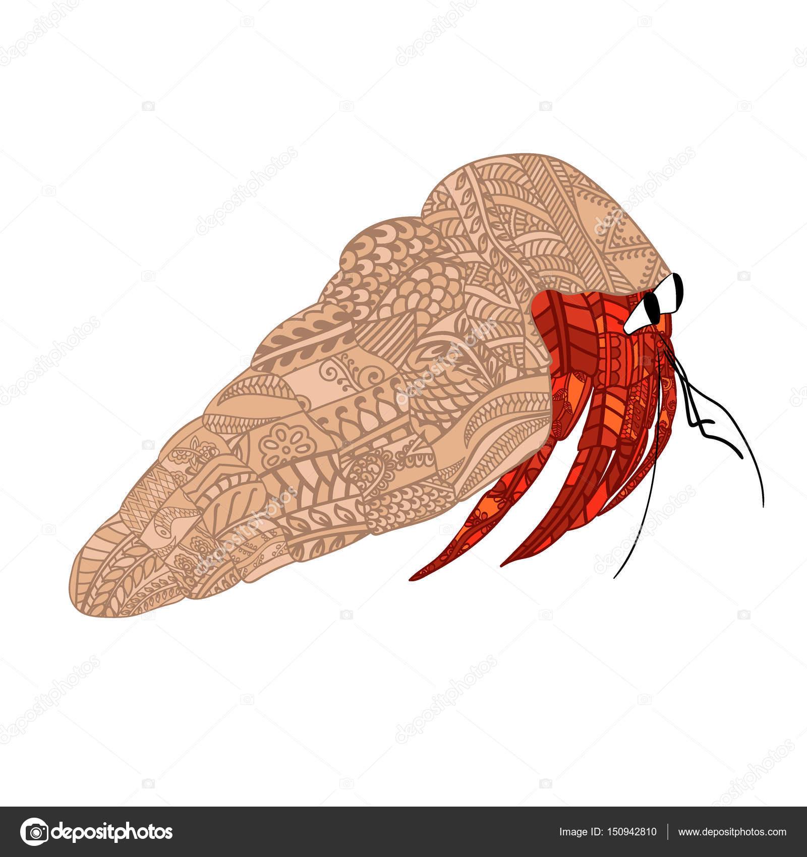 Colorido cangrejo con patrón étnico doodle. Zentangle inspiró patrón ...