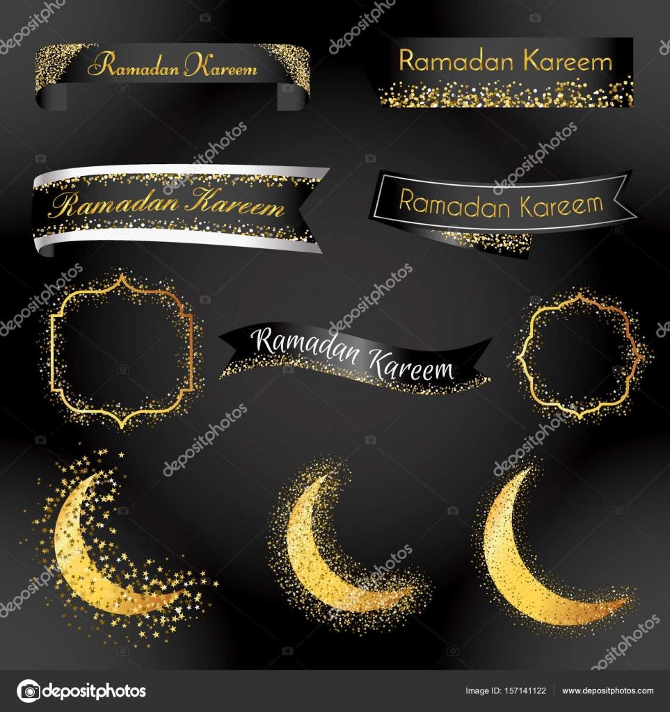 Ramadán Kareem plantilla de cinta y la etiqueta. insignia de objeto ...