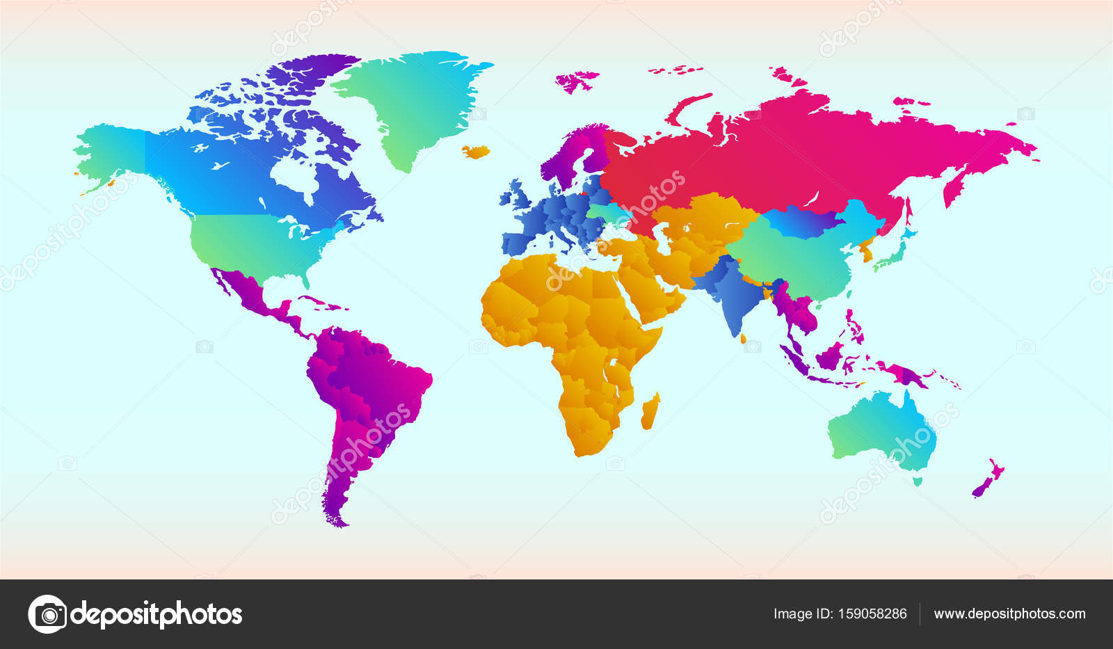 Vector illustration of World map with different colored countries ...