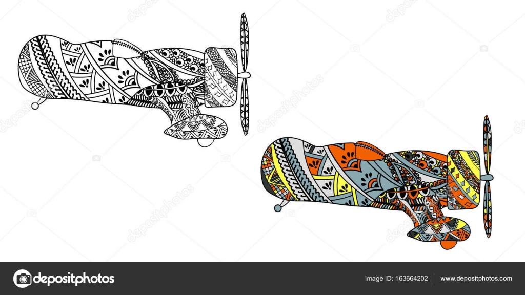 Avión con patrón étnico doodle. Zentangle inspiró patrón para anti ...