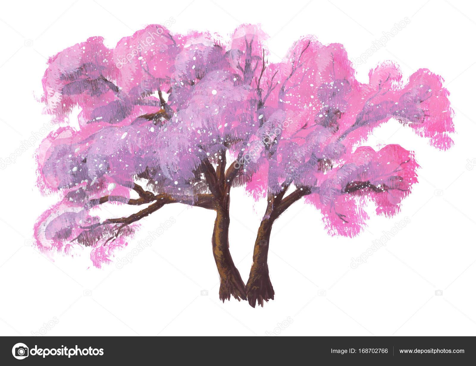 Hand Gezeichnet Acryl Lebendige Sommer Rosa Baum Isoliert