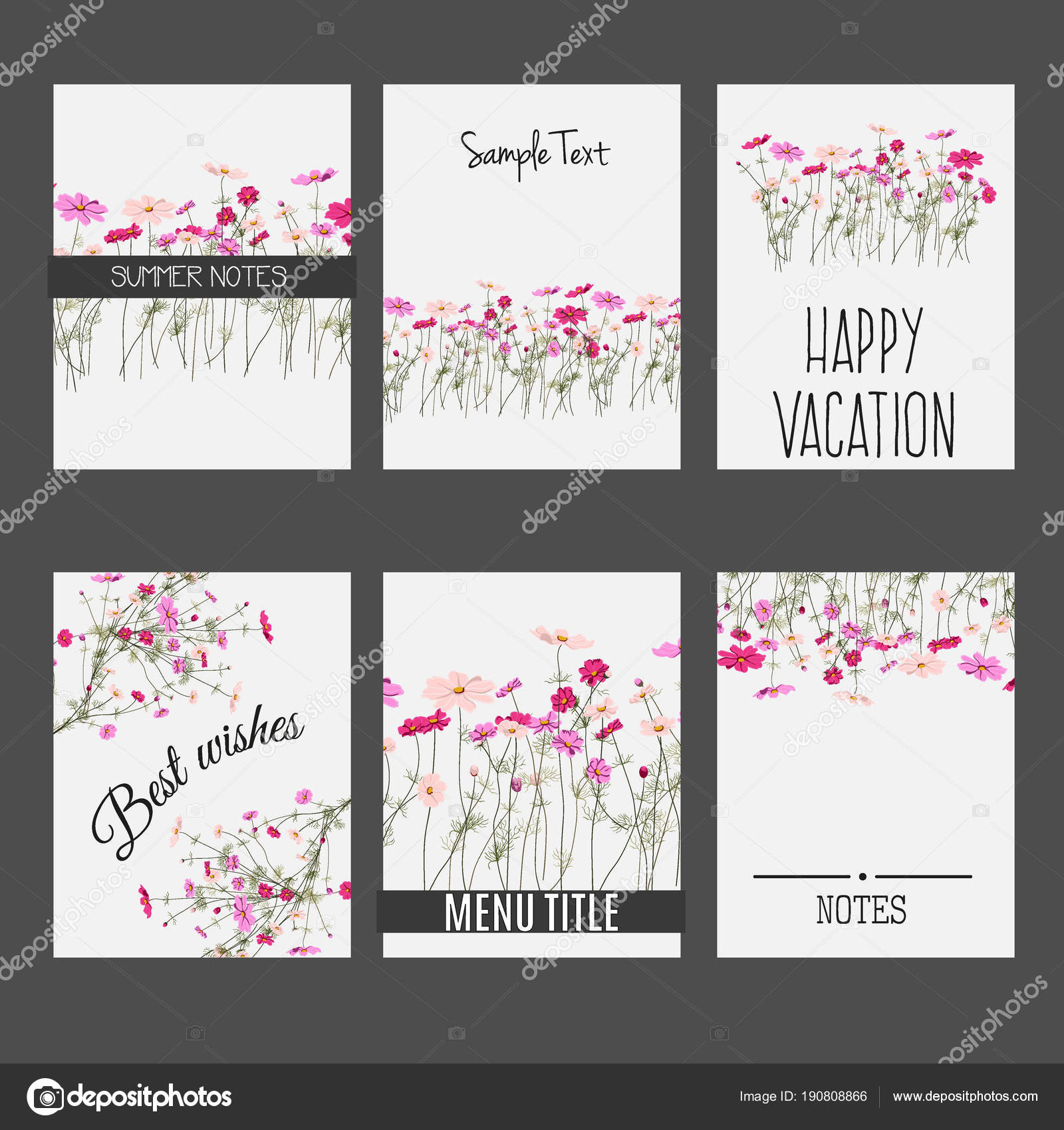 Flores Del Campo Letra Conjunto De Vectores De Tarjetas De