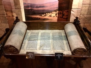 Williamstown, KY, USA - November 3, 2017:  Torah Scroll referencing the building of the tabernacle in Hebrew from the 1800's in Noah's ark replica at the Ark Encounter Theme Park in Williamstown, Kentucky, USA