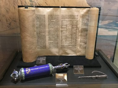 Williamstown, KY, USA - November 3, 2017:  Torah Scroll in the 1800's plus a blue scroll of Esther in Noah's ark replica at the Ark Encounter Theme Park in Williamstown, Kentucky, USA