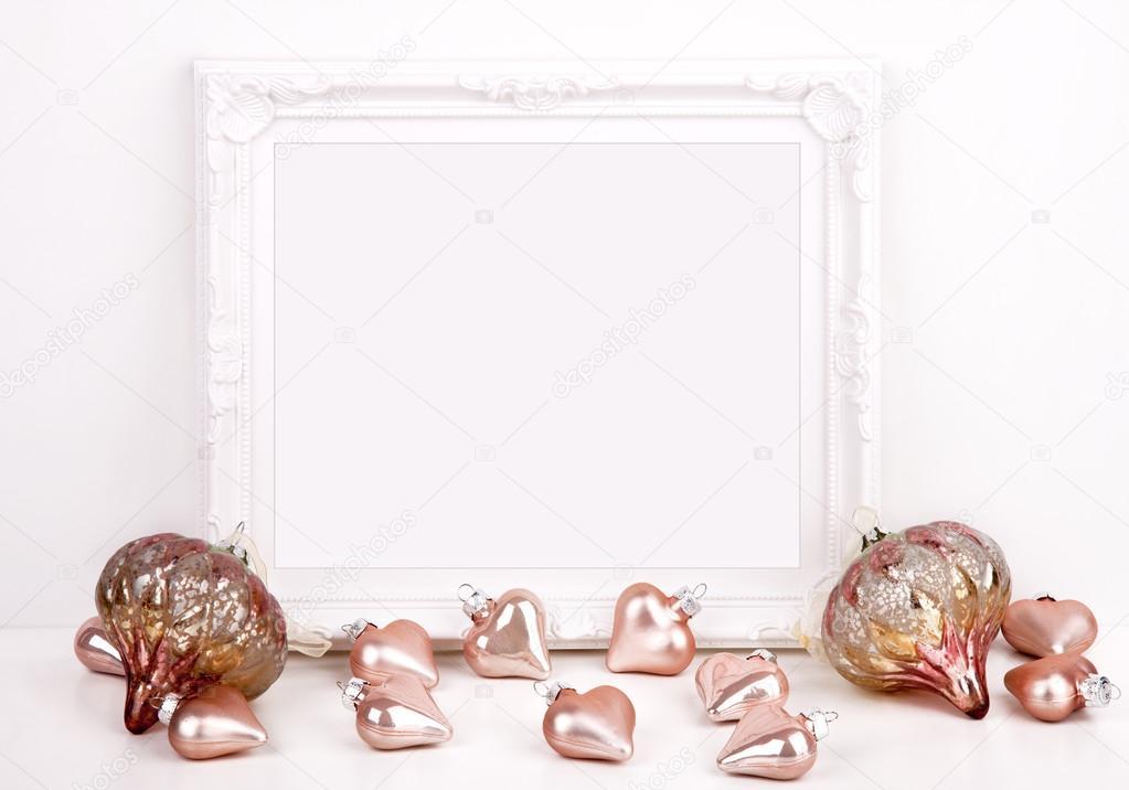 Maqueta de Navidad estilo fotografía con marco blanco — Fotos de ...