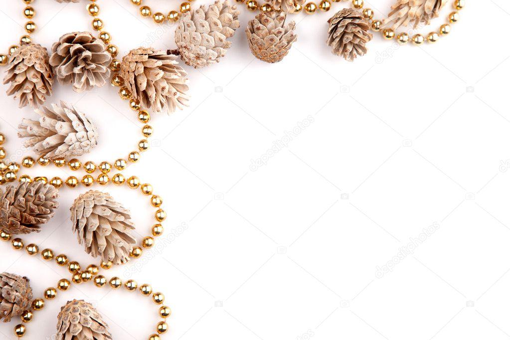 Christmas Flat Lay Mockup Desktop Pine Cones Amp Gold Beads
