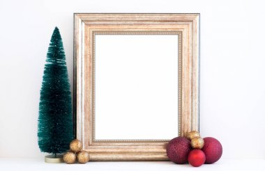 Christmas mockup styled stock photography with gold frame