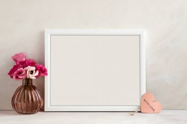 Floral mockup styled stock photography with white frame