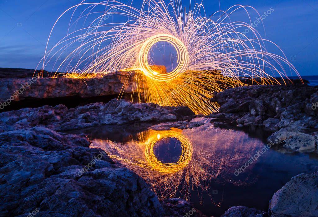 Fireworks on the coast of the Black sea