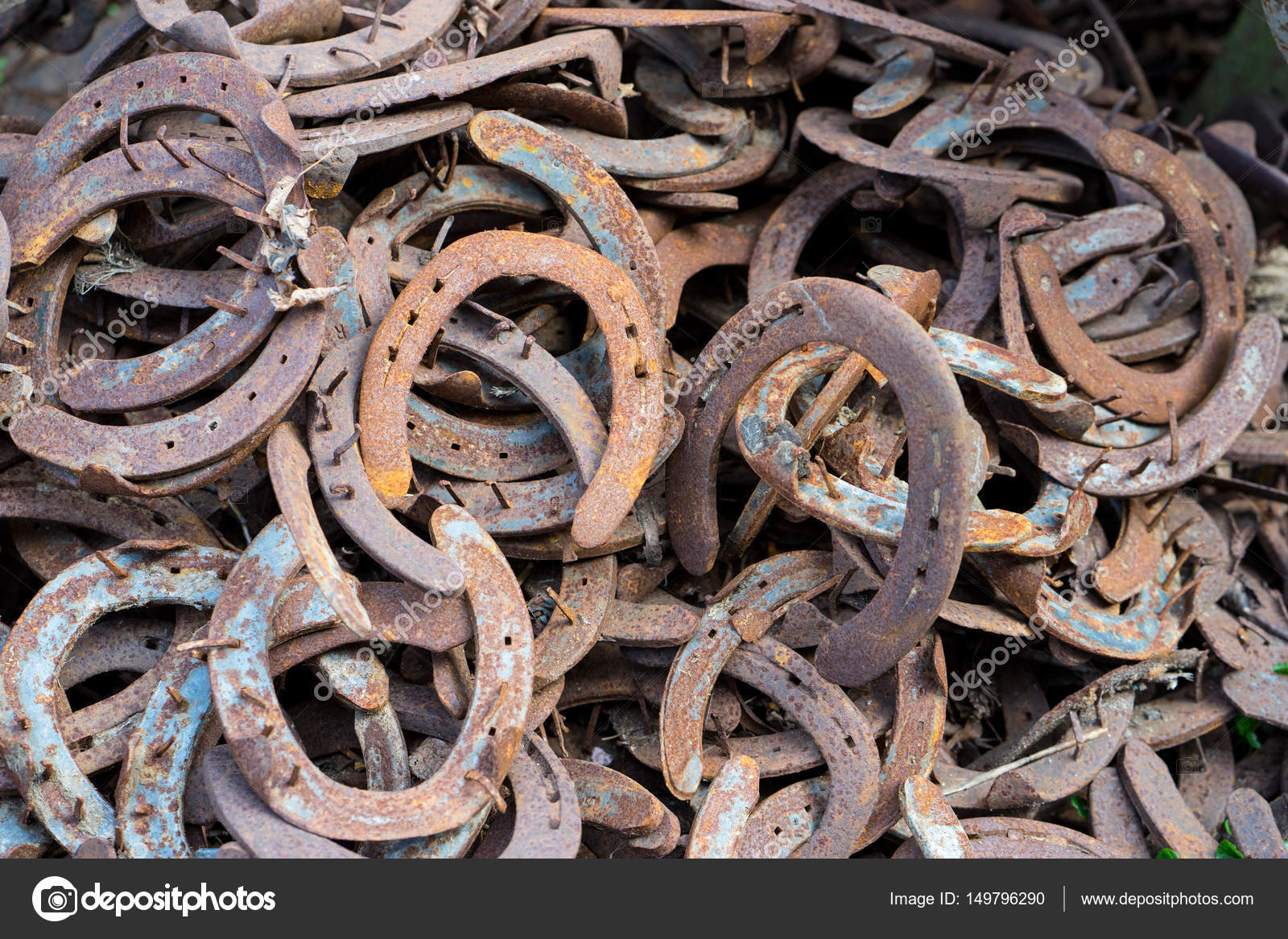 Large pile of rusty used horseshoes stock photo for Where to buy used horseshoes