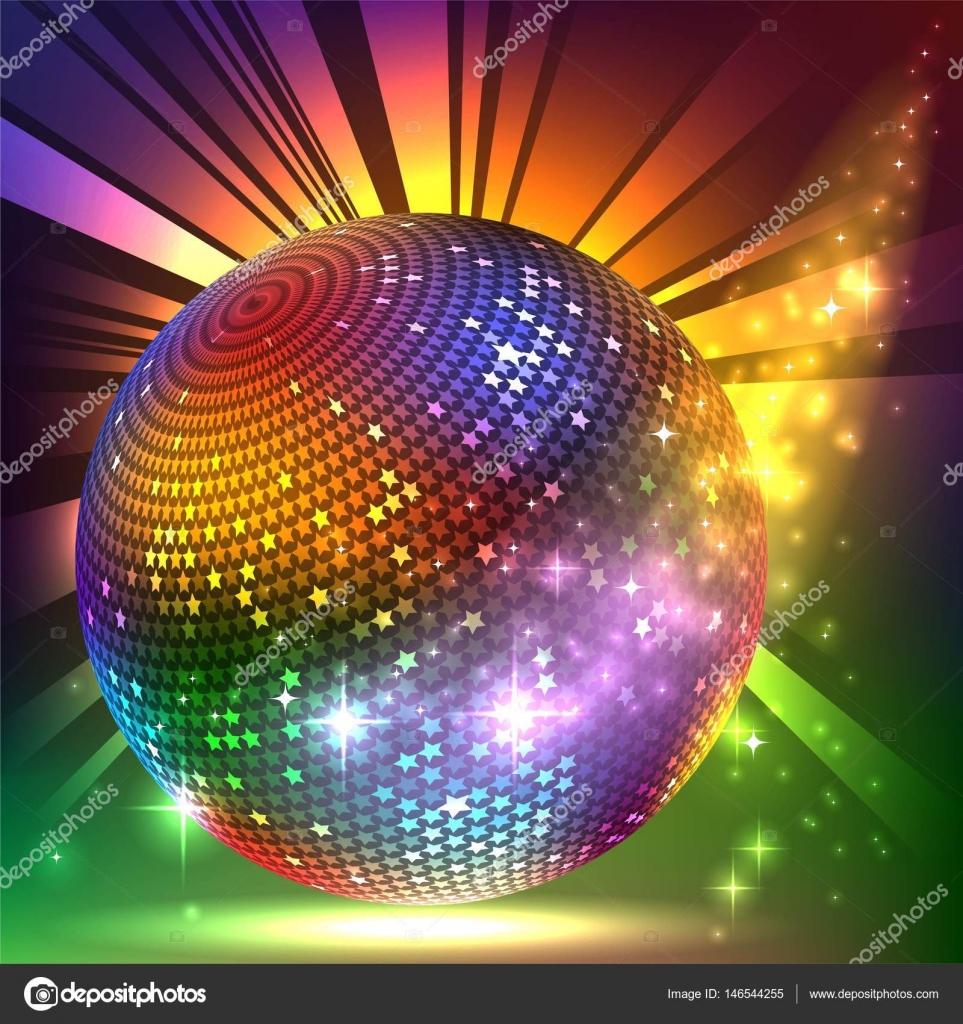 sparkling disco ball. Night party — Stock Vector ...
