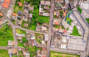 Top Urban View Of Lots Of Houses In Banos De Agua Santa, Ecuador