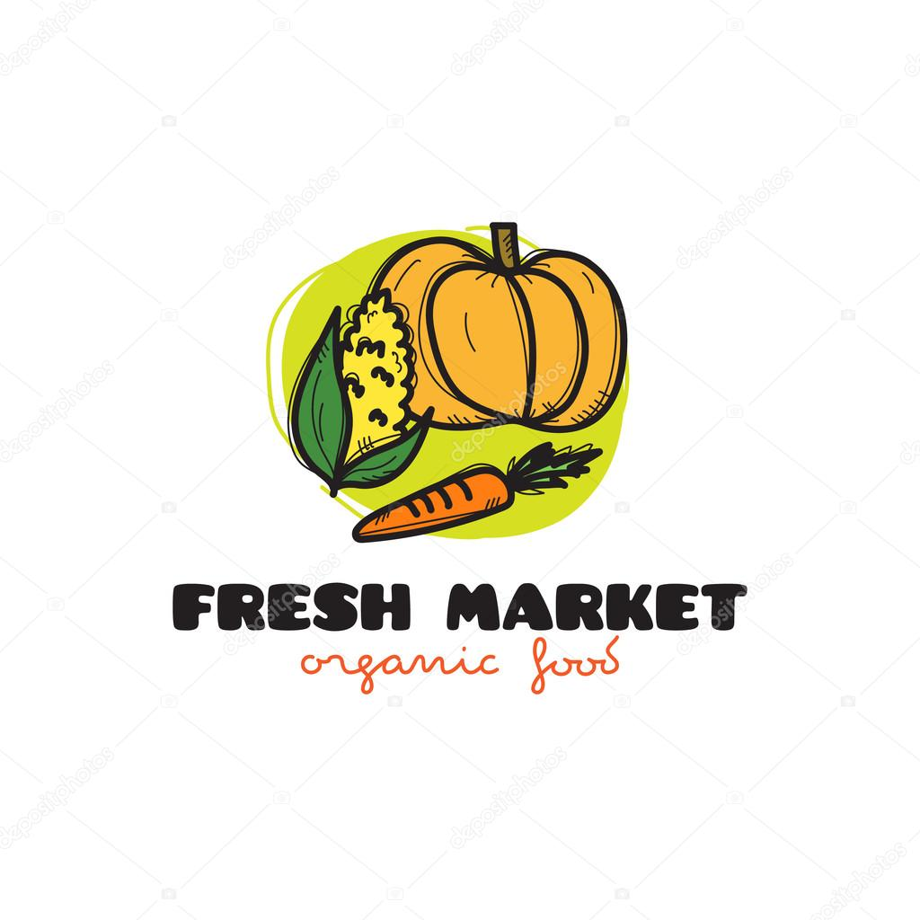 Vector doodle vegetables market logo — Stock Vector © Stacy_T #127289660