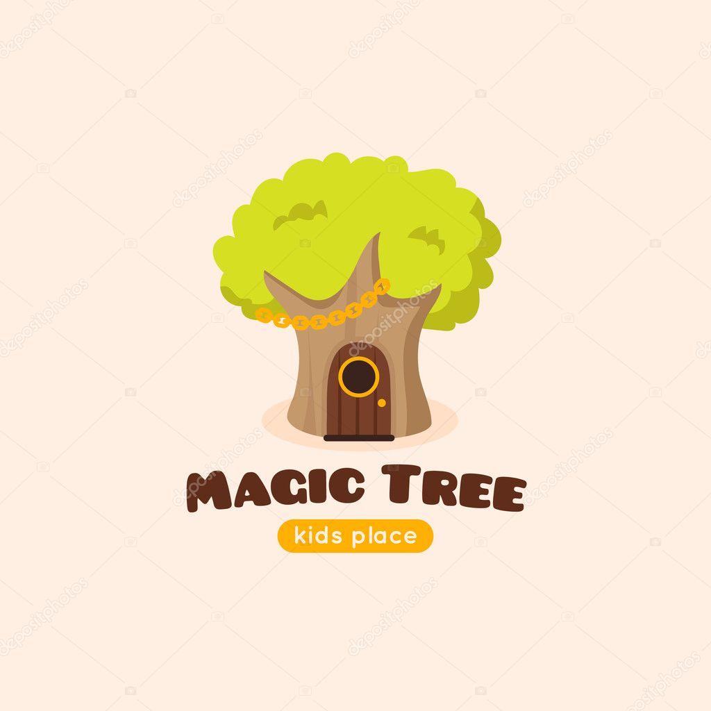 Vector cartoon magic tree logo.