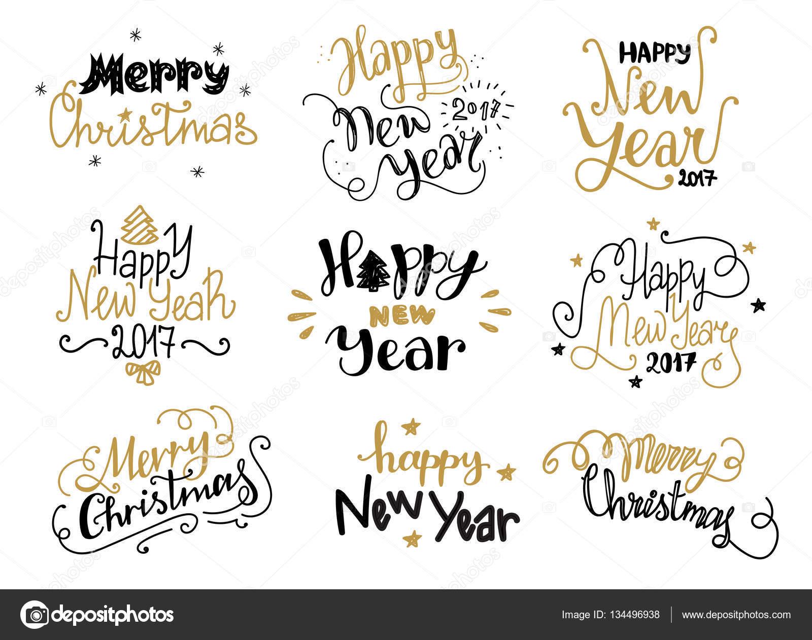 Etiketten Frohe Weihnachten.Frohes Neues Jahr Und Frohe Weihnachten Hand Gezeichnete