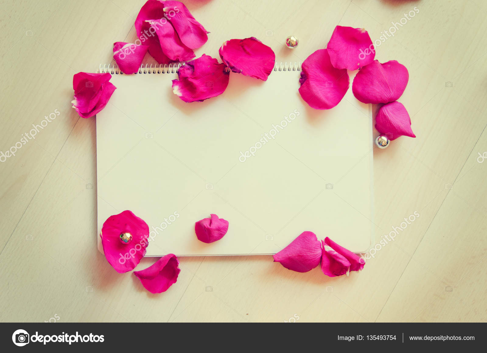 St Valentines Day Blank Template For Greeting Text With Note And