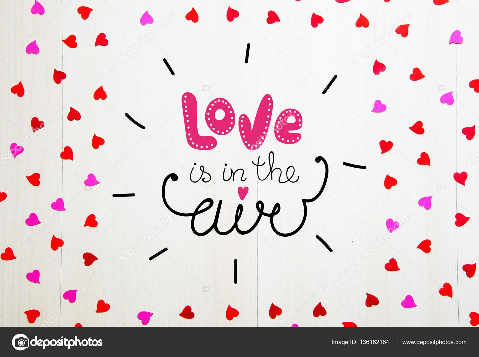Composición vintage del St Valentine día marco Letras y corazones ...