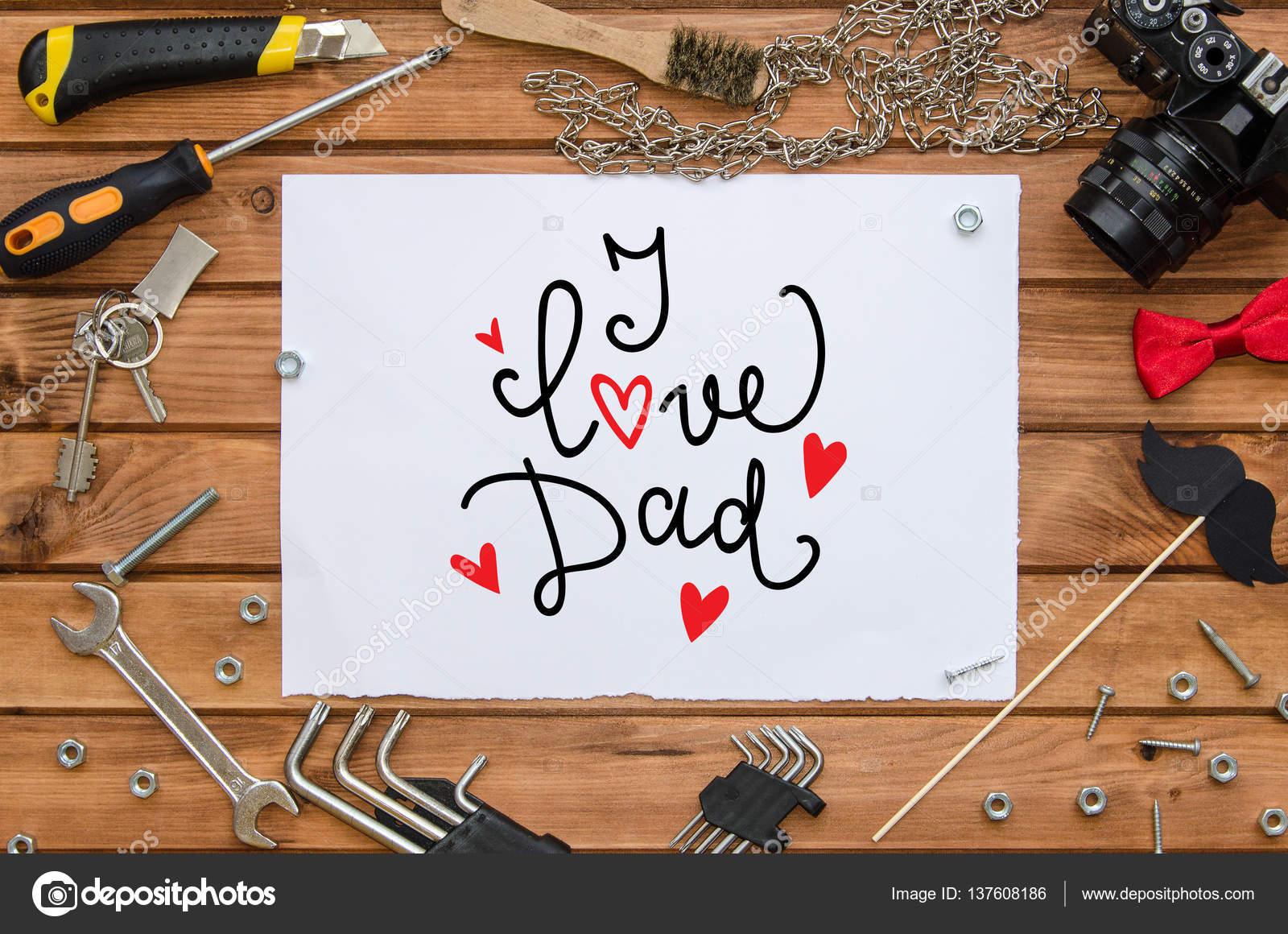 Vatertag flach legen mock-up Vorlage mit Hand gezeichneten Begrüßung ...