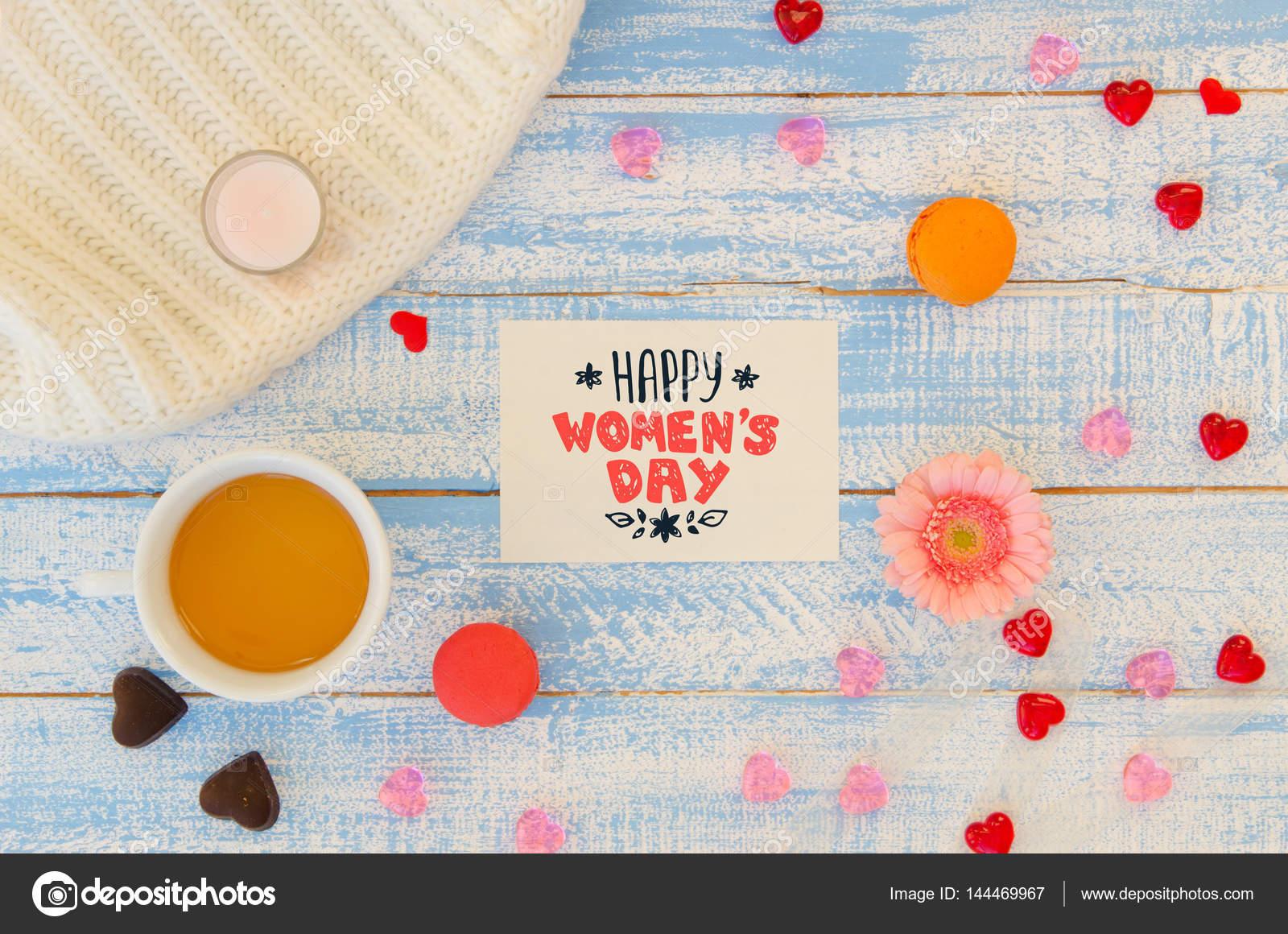 Día de la mujer plantilla plana endecha de mano Letras Nota — Foto ...