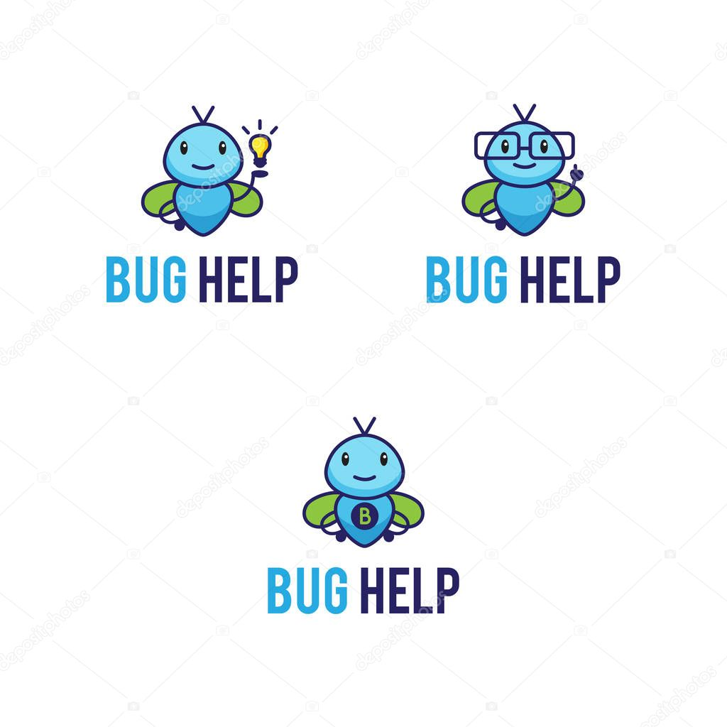 Mascot logos set with funny abstract  bugs