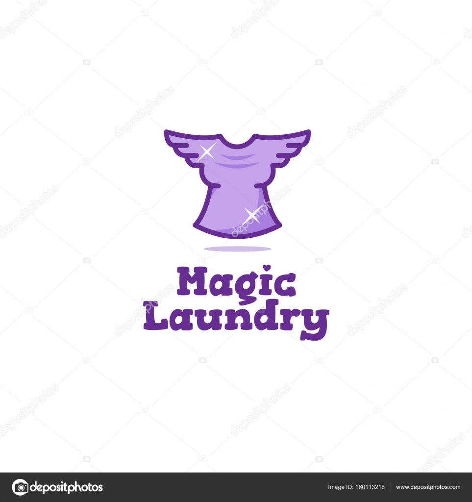 Creative Laundry Logo Flying T Shirt With Wings Dry Cleaning Symbol