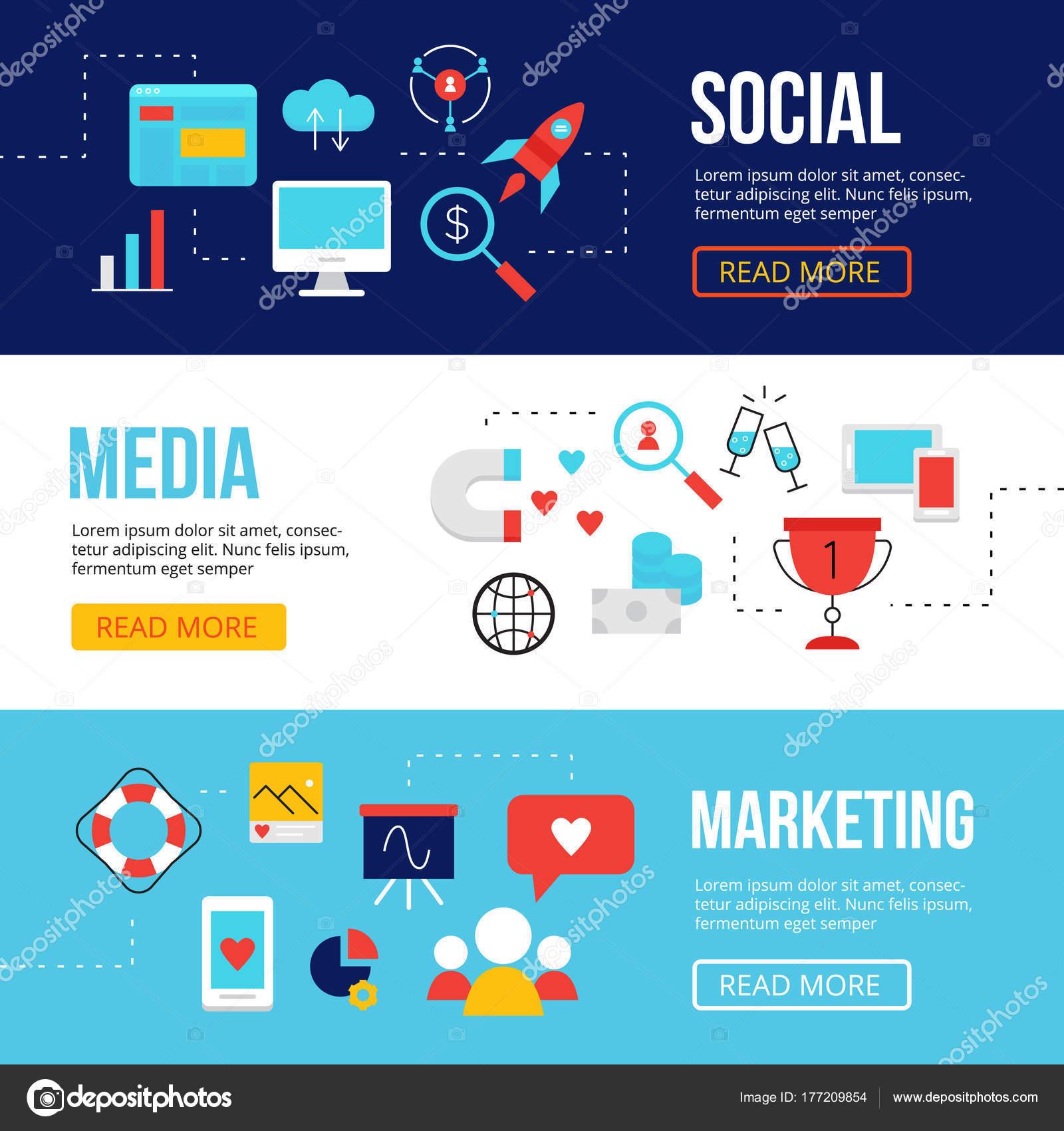 Banners de web marketing redes sociales diseño de plantillas. SMM ...