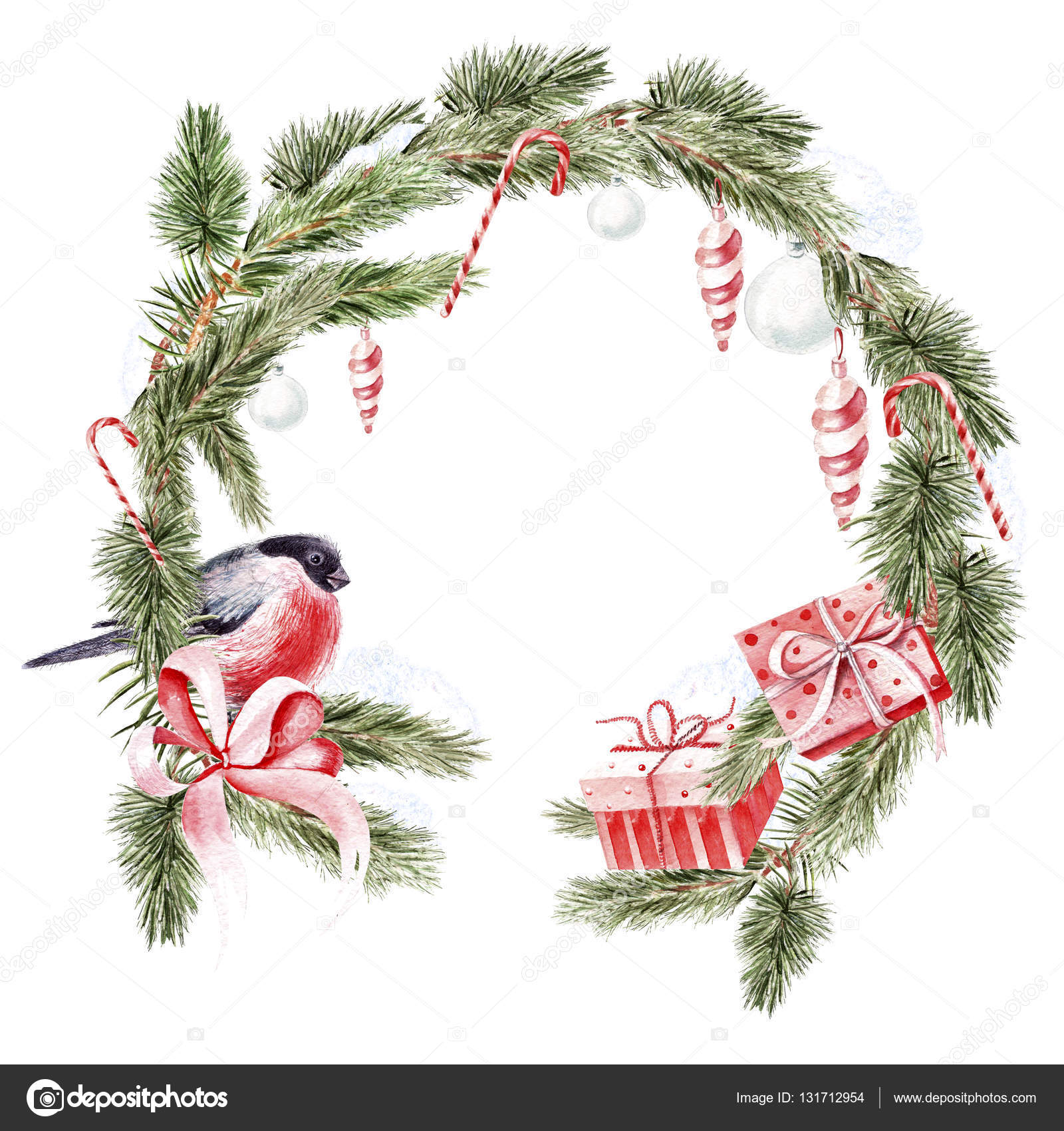 Holiday Watercolor Christmas Wreath Stock Photo Image By C Knopazyzy 131712954