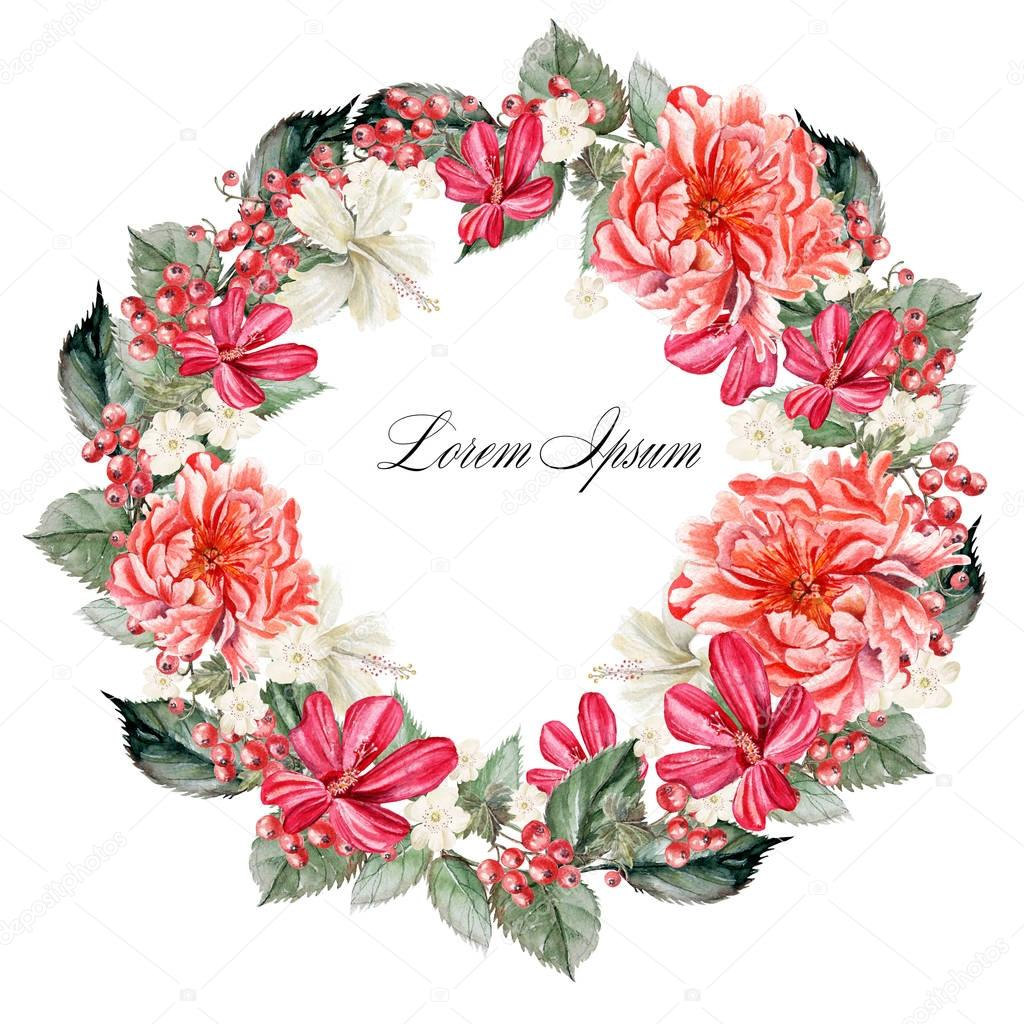 Beautiful watercolor wreath with flowers peonies and hibiscus, berries currant.