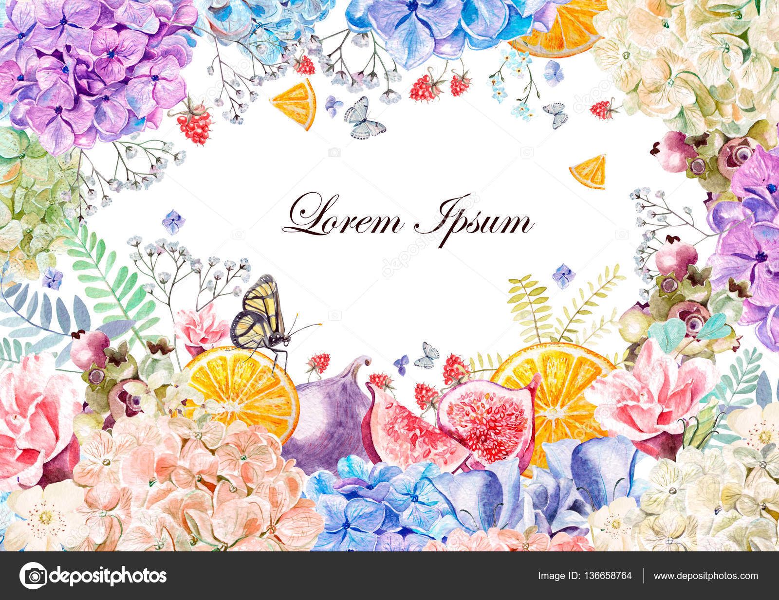 Colorful Watercolor Greeting Card Or Wedding Invitation From