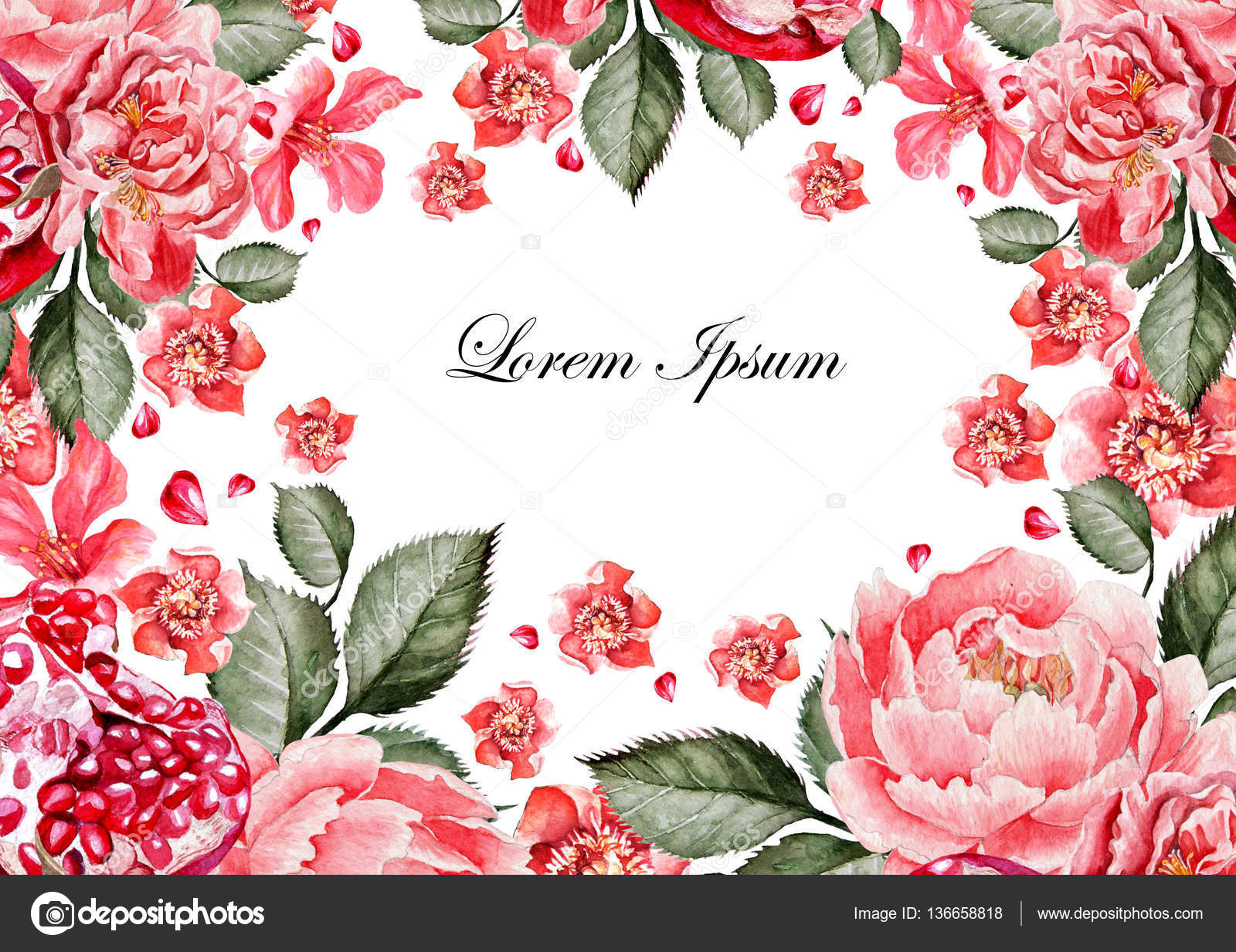 Colorful watercolor greeting card or wedding invitation. With ...