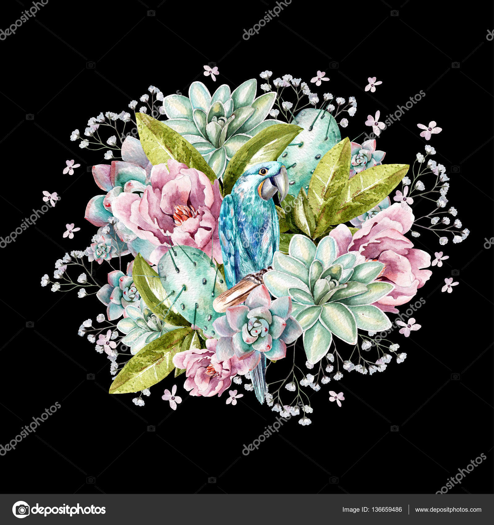 Colorful watercolor bouquet. With peonies, succulents, cactus ...