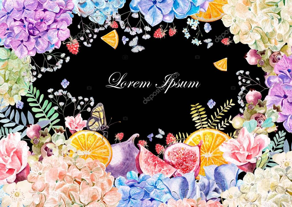 Colorful watercolor greeting card or wedding invitation. From hydrangea flower, rose, peony, eustomiya and fruits oranges, figs, raspberries.