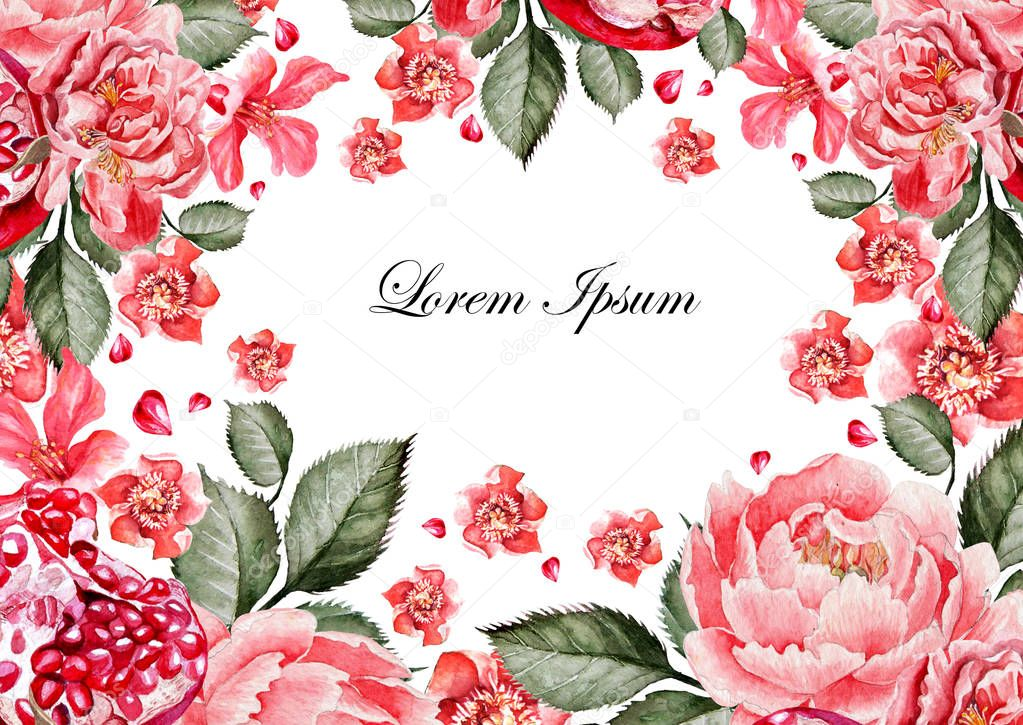 Colorful watercolor greeting card or wedding invitation. With flowers of Chinese roses, succulents, peony. Pomegranate fruit. Illustrations.