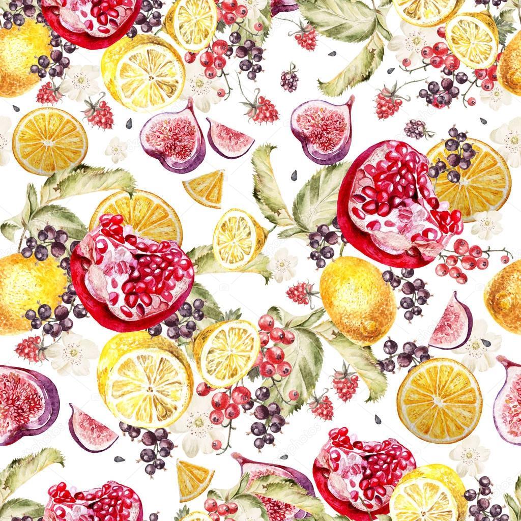 Watercolor pattern with flowers roses, peonies, petunias, blackberries and blueberries.