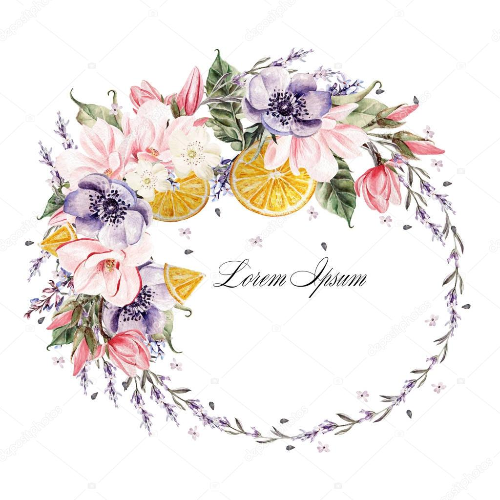 Beautiful watercolor wreath with lavender flowers, anemone, magnolia and orange fruits