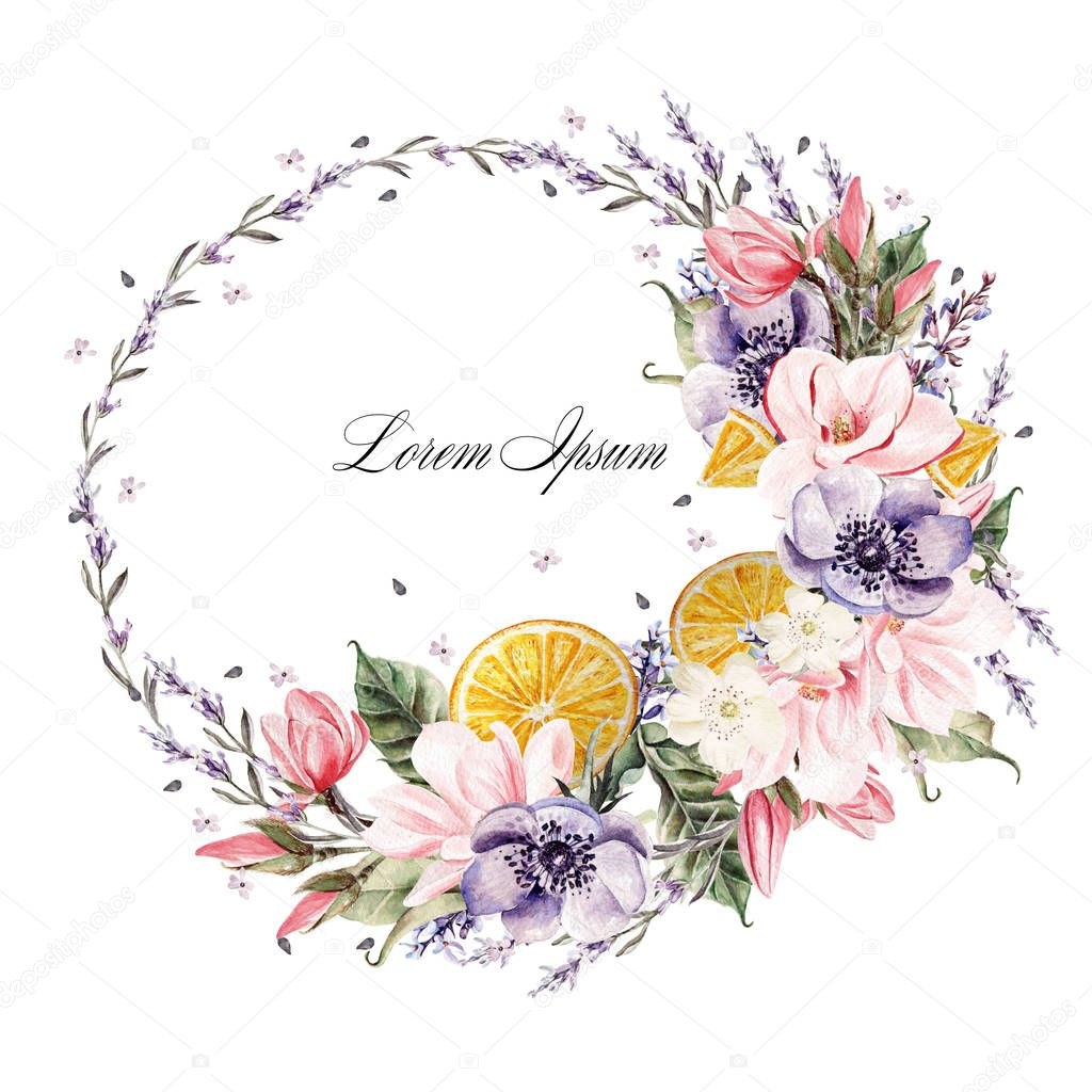 Beautiful watercolor wreath with lavender flowers, anemone, magnolia and orange fruits.