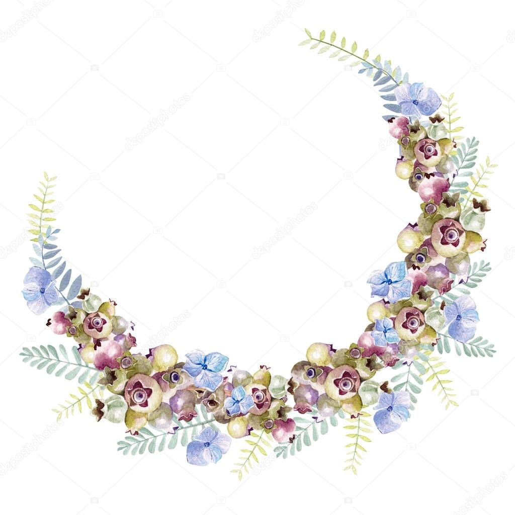 Beautiful watercolor wreath with eucalyptus branches and hydrangea flowers. saskatoon berries.