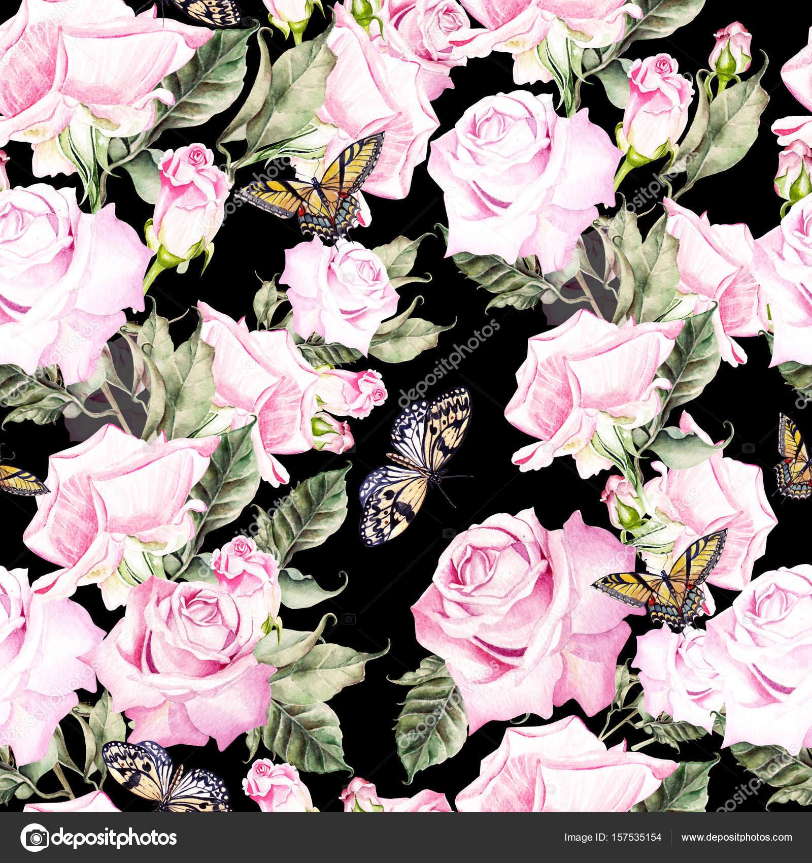 Güzel Parlak Renkli Sulu Boya Desen Gül çiçek Ile Bir Stok
