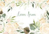 Nádherný akvarel karta s květy růží a listy. Svatba