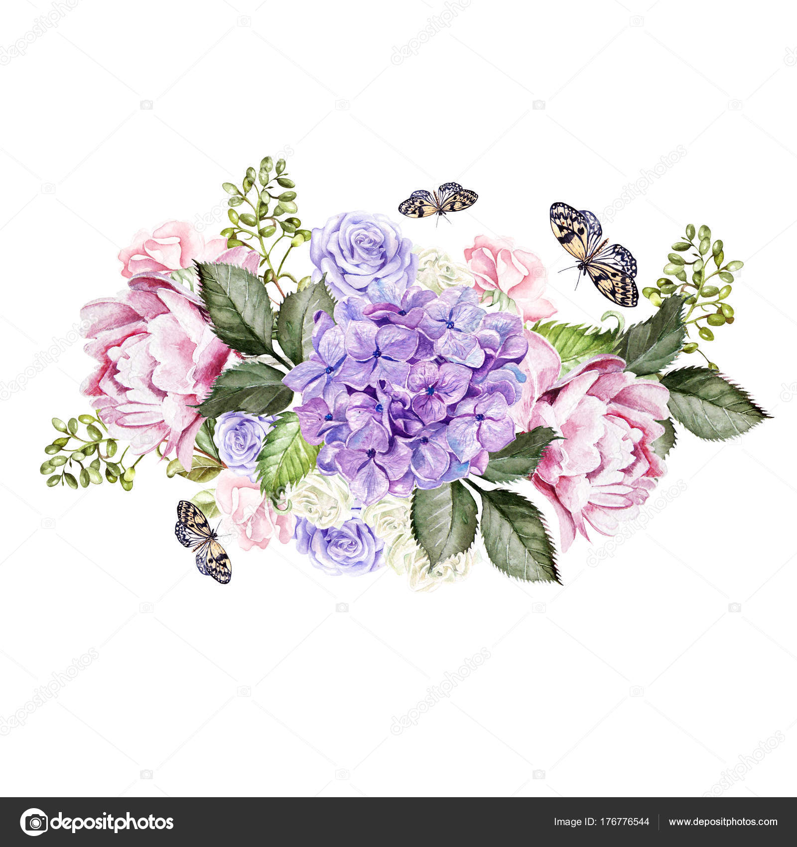 Watercolor wedding bouquet with rose, peony and hydrangea ...