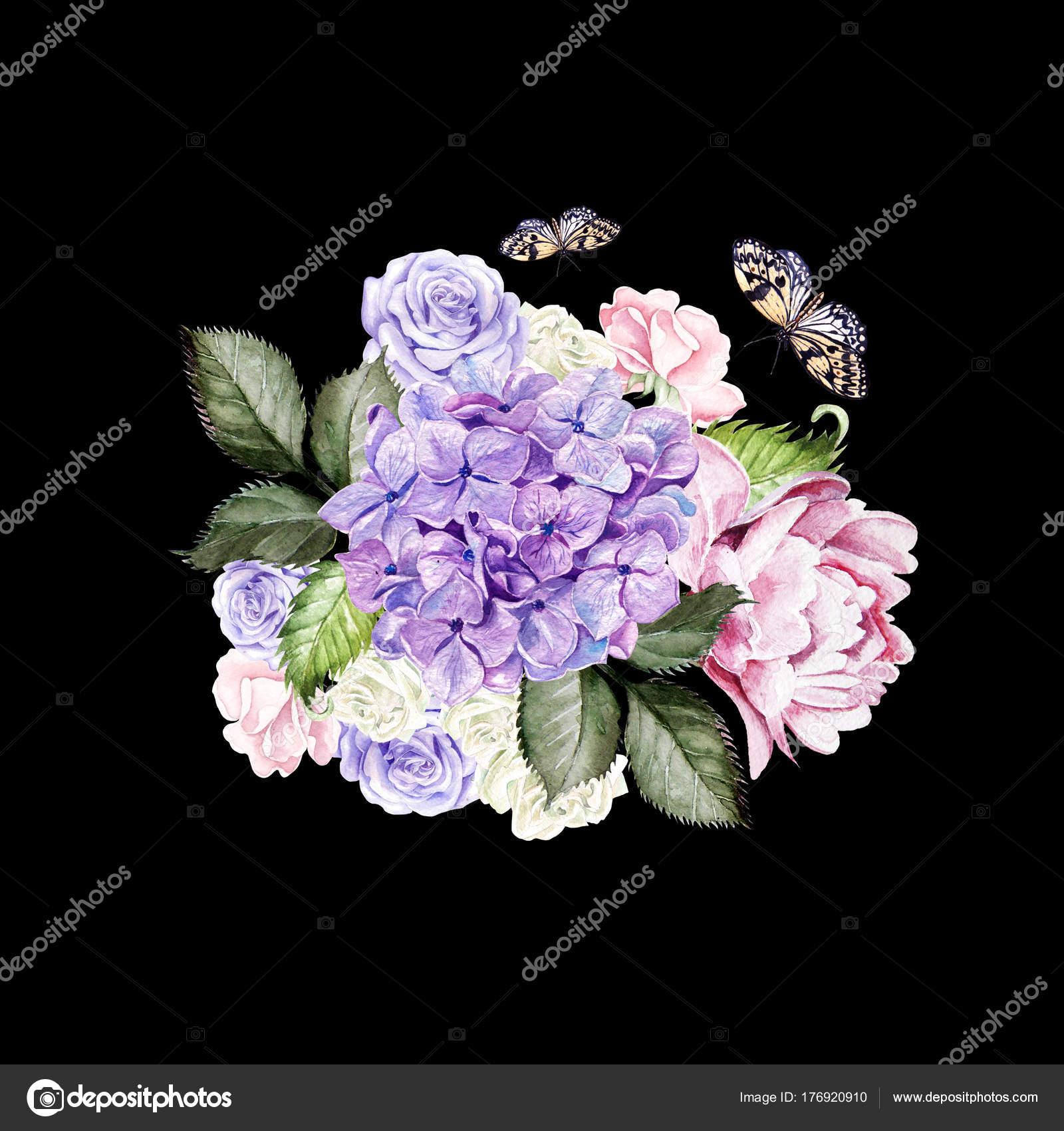 aquarell brautstrau mit rosen pfingstrosen und hortensien illustration stockfoto. Black Bedroom Furniture Sets. Home Design Ideas