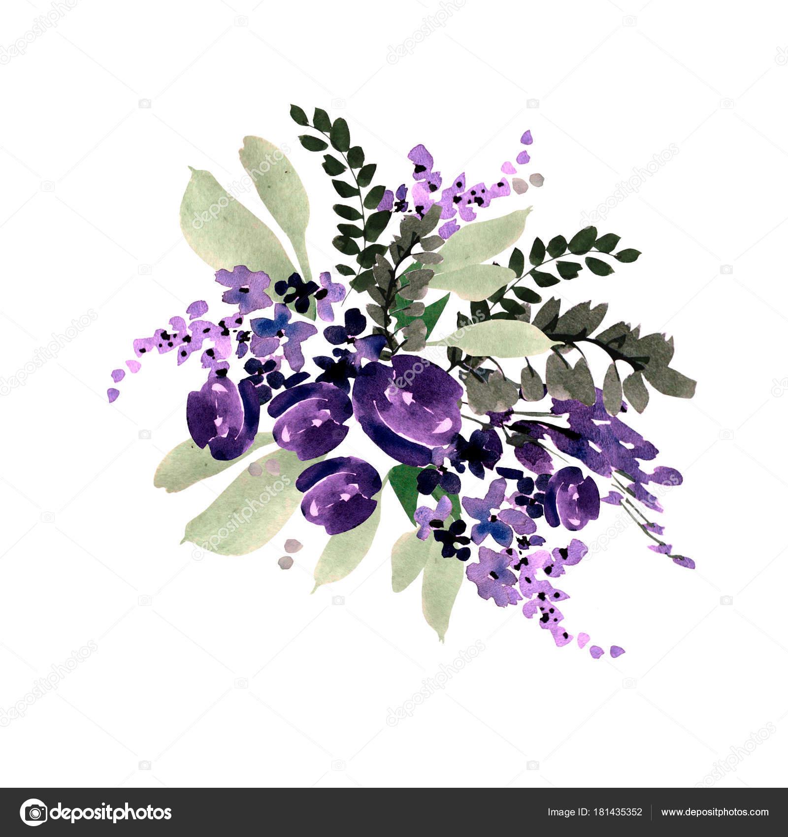 Beautiful watercolor wedding bouquet with purple flowers stock beautiful watercolor wedding bouquet with purple flowers illustration photo by knopazyzy izmirmasajfo