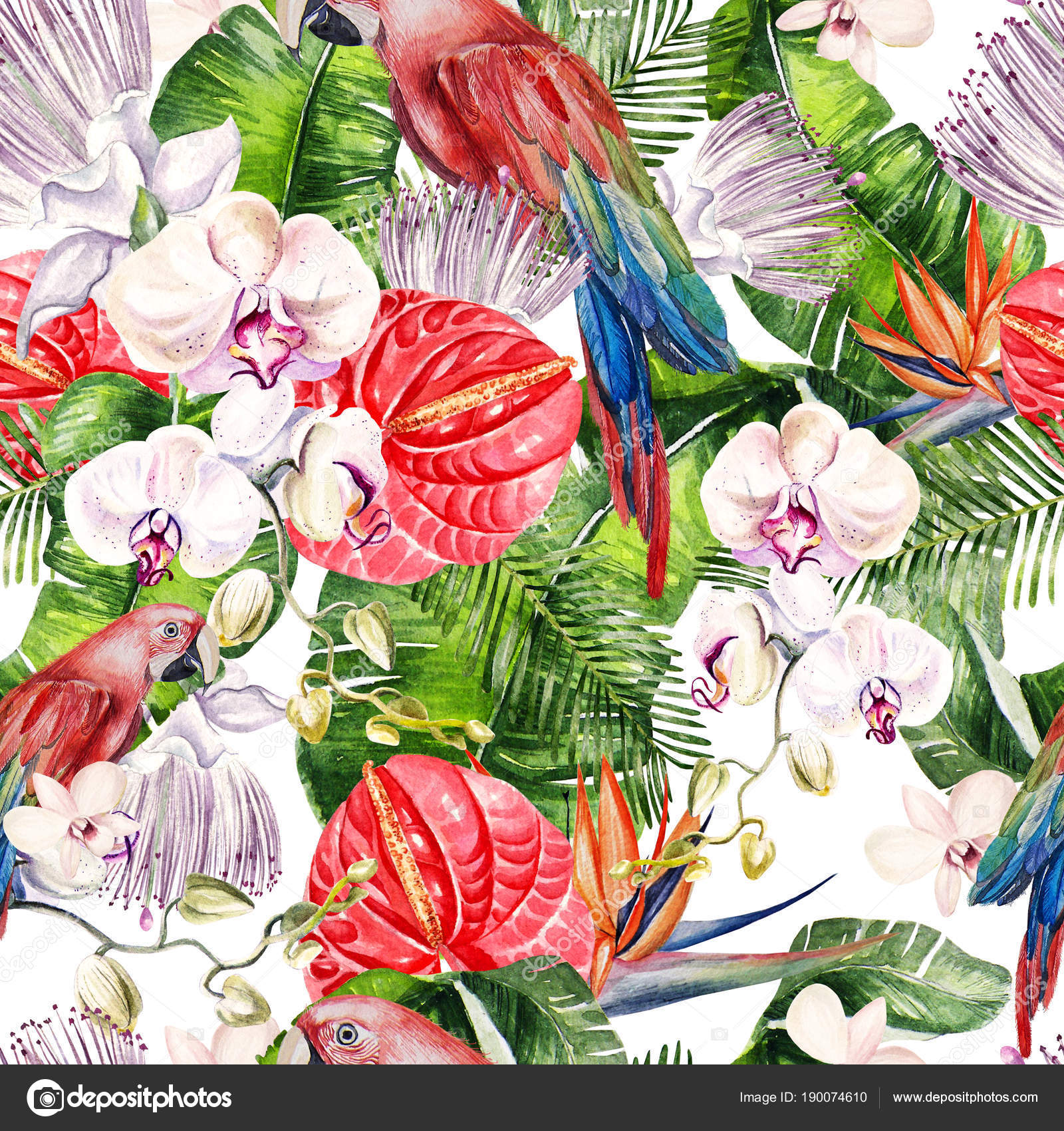 Beautiful Watercolor Seamless Tropical Jungle Floral