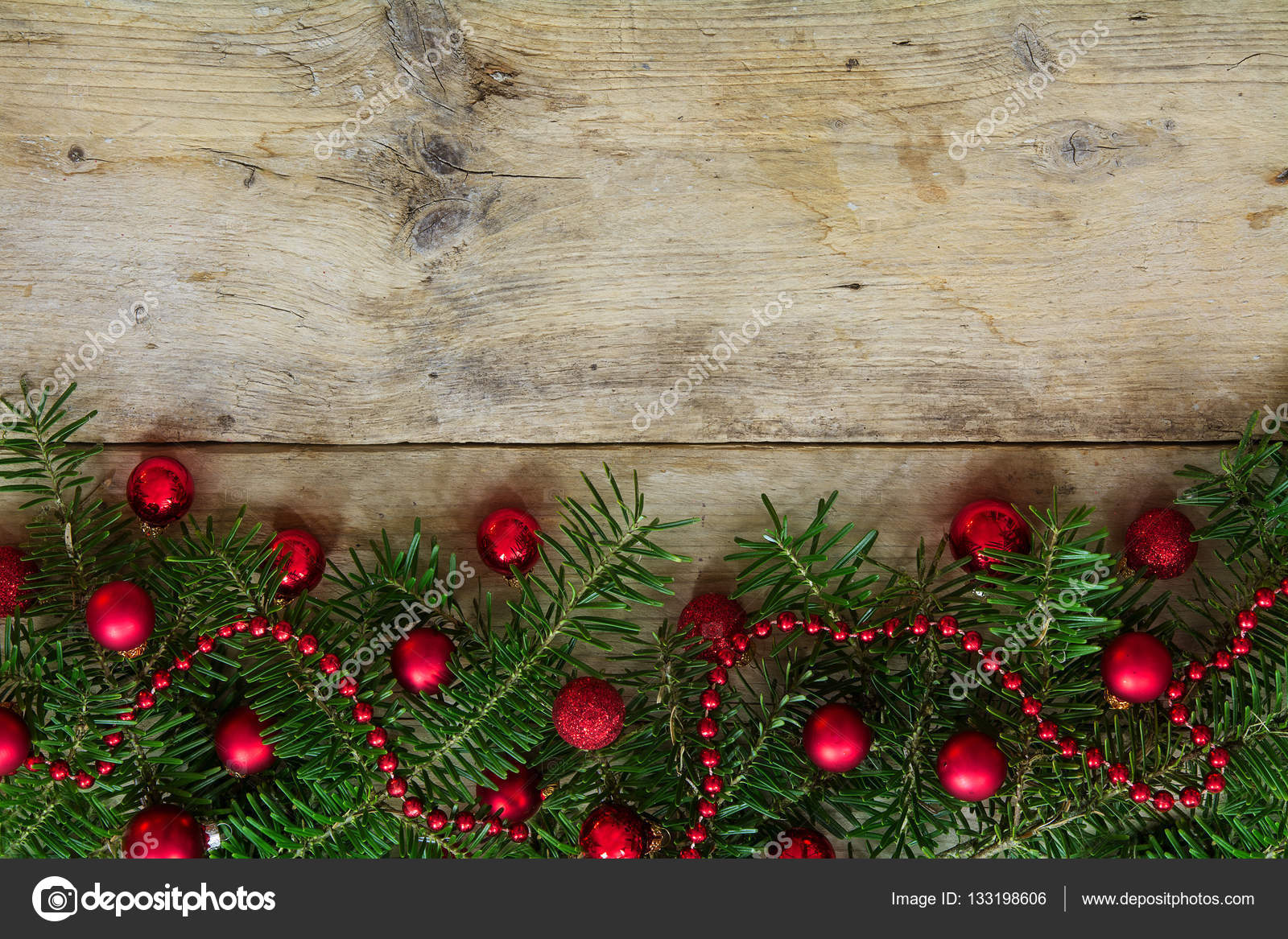 Fir Tree Branches Decorated With Red Christmas Balls As Border On A Rustic Wooden Board Holiday Background Frame Copy Space Photo By Fermate