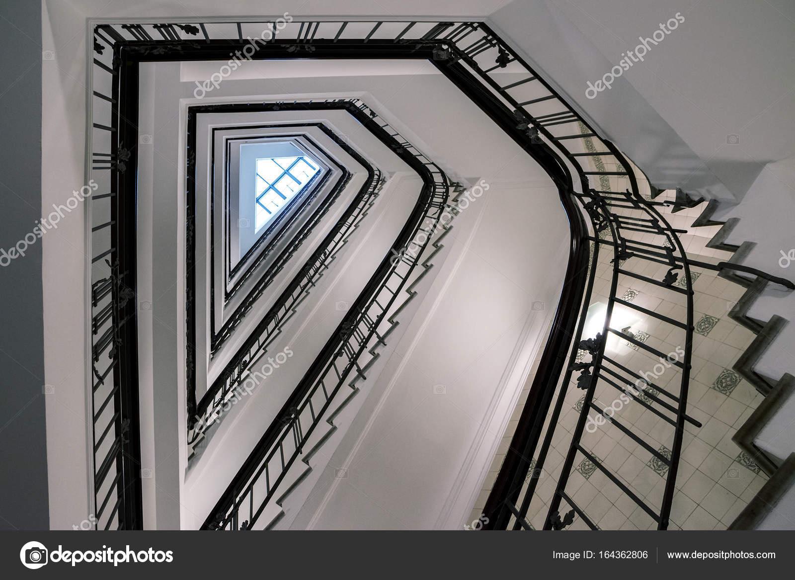 Old Triangular Spiral Stairway Case From Below U2014 Stock Photo
