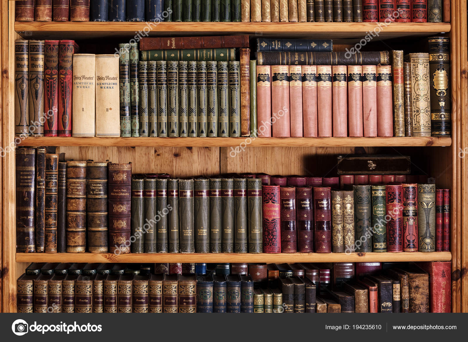 Rehna Germany April 18 2108 Wooden Bookcase With Old Vintage